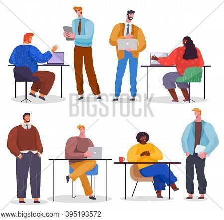 Business Characters Working In Office Workplace At The Table With Laptop Flat Design. Co Working Peo