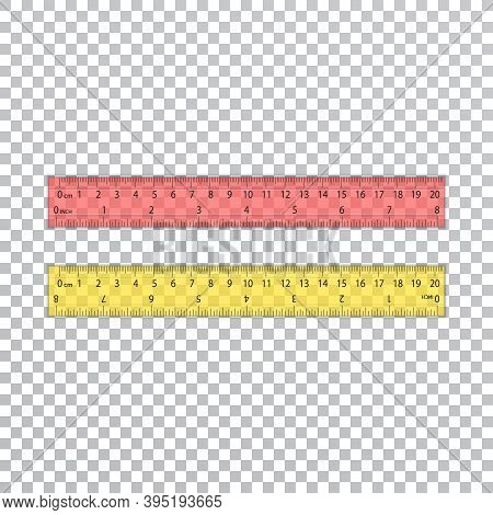 A Set Of Plastic Rulers On A Transparent Background. School Supplies. Red And Yellow Lines Of 20cm A