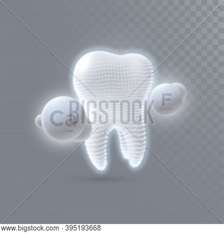Realistic 3d Tooth With Calcium And Fluorine Particles Isolated On Transparent Background. Vector De