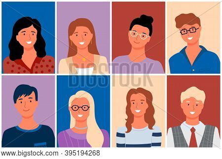 People Smiling Vector, Secretary Wearing Glasses, Business Worker With Grey Hair, Man And Woman Posi