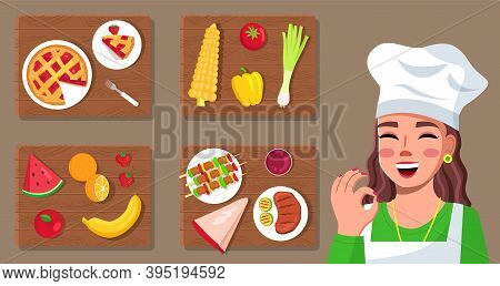 Set Of Cook Pictures. Young Woman Cook Shows Ok Sign. Gourmet Food Image. Master Class About Cooking
