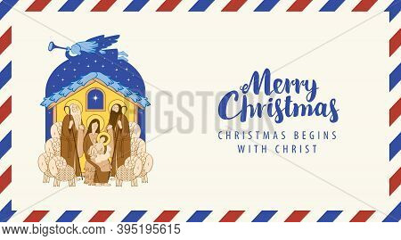 Postal Envelope With Illustration In Cartoon Style On The Theme Of Christmas. Bible Illustration Of