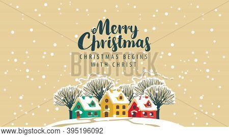 Postal Envelope Or Greeting Card On The Merry Christmas Theme. Vector Illustration In Cartoon Style