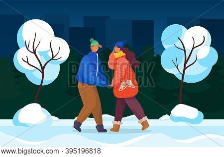 Couple Walking In Evening Park In Winter. Man And Woman Holding Hands. Cold Weather In Town, Citysca