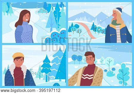 People Spending Time In Winter Park Or Forest. Man And Woman Wearing Warm Clothes Smiling. Frosty We