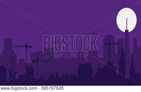 Night City. Building And Urban Illustration, City Scene On Night Time. Design Graphic For Web Page O