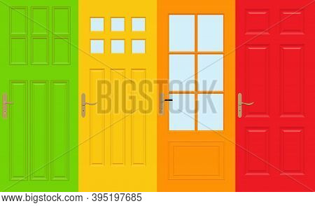 Colorful Front Doors To Houses And Buildings Set In Flat Design Style Isolated, Vector Illustration.