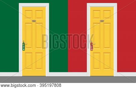 Hotel Room Yellow Closed Doors With Frame Inside M. Please Do Not Disturb Sign. Vector Illustration