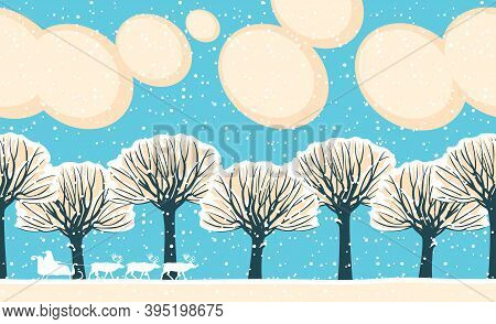 Horizontal Seamless Pattern. Repeatable Winter Landscape With Silhouettes Of Santa Claus In Sledge,