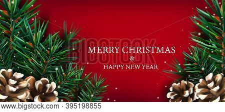 Merry Christmas And Happy New Year. Realistic Christmas Border With Of Pine Branches, Pine Cone, Sno