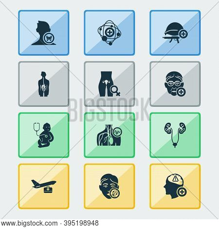 Medical Icons Set With Dermatology, Urology, Endocrinology And Other Child Elements. Isolated Vector