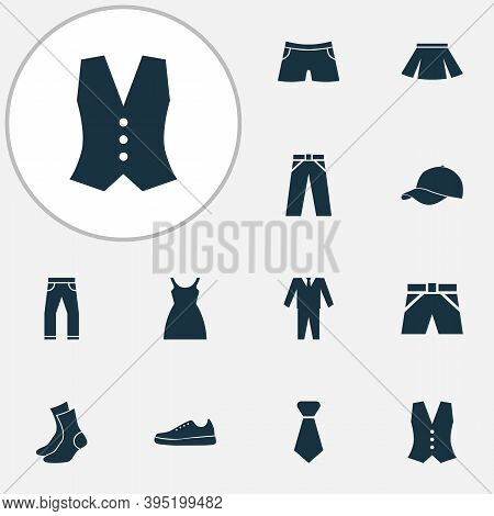 Clothes Icons Set With Gumshoes, Briefs, Shorts And Other Swimming Trunk Elements. Isolated Illustra