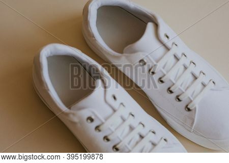 White canvas sneaker woman's shoes