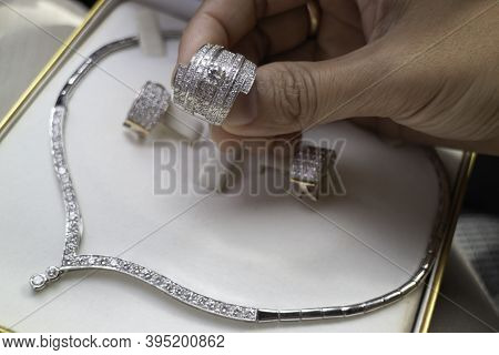 Fine Luxury Diamond Jewellery Set, Stock Photo