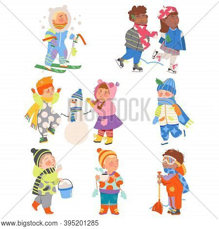 Excited Children Ski Running, Building Snowman And Playing Snowballs Vector Set