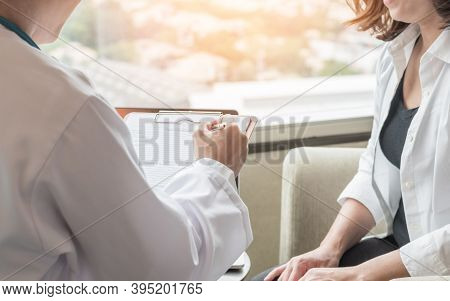 Breast Cancer Awareness In Menopause Woman Who Consulting With Doctor Diagnostic Examining On Obstet