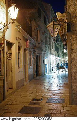 OMIS, CROATIA, 14 SEPTEMBER, 2020: Architectural detailin the Old City of Omis, Croatia, Europe