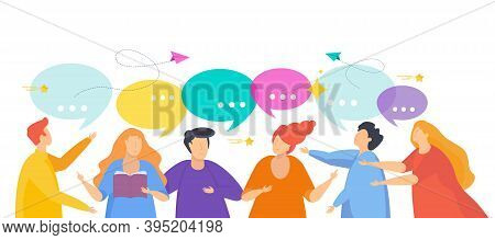 People Talking. Conversation On Social Networks. Flat Vector Illustration.