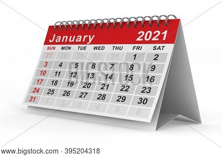 2021 year. Calendar for January. Isolated 3D illustration