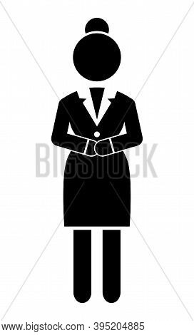 Businesswoman With Crossed Hands, Black Flat Vector Silhouette. Confident Woman. Female In Strict Bl