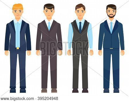 Business Man Clothes. Young Men In Office Clothes Vector Illustration. Dress Code For Male Character