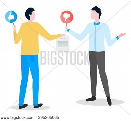 Contract Signature, Conversation, Business Partners Conclusion Of A Deal. Disagreement Between Custo