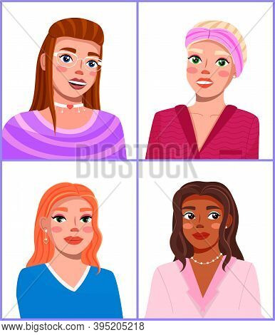 Image Of Four Beautiful, Stylish, Trendy Girls. Fashionable Makeup, Hairstyles. Makeup Master Class.