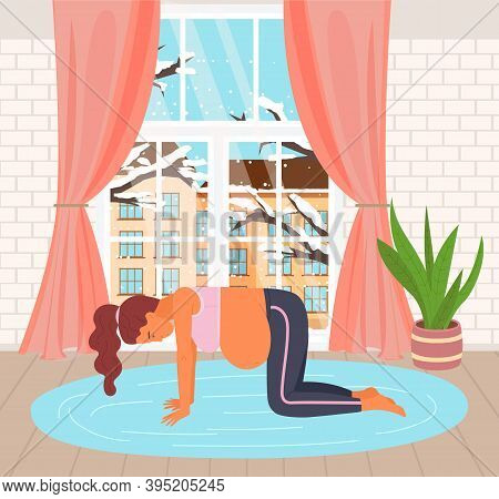 Pregnancy Preparing Flat Illustration. Birth Active Position Standing On All Fours. Gymnastic For Pr