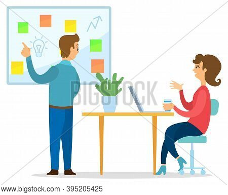 Businessman Representing The Idea At A Meeting In The Office. Business Idea Development, Strategies
