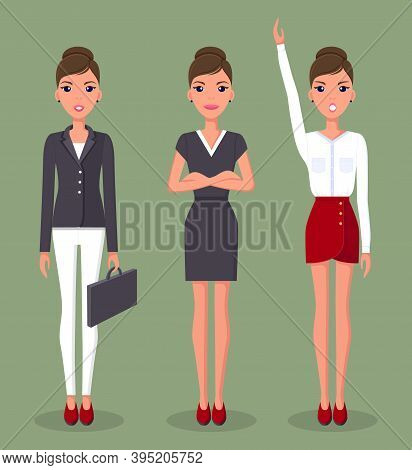 Business Woman Set In Different Poses Vector Illustration. Pretty Young Woman Character Dressed Form