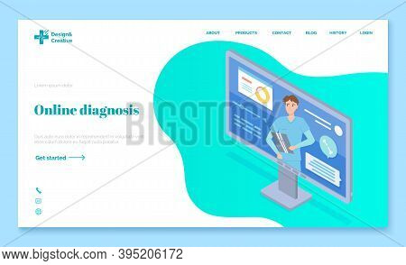 Concept Of Online Diagnostic. Radiologist Conducts Online Video Conference. Radiologist Holds X-rayi
