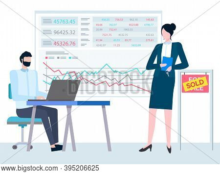 Consultant Business Realtor, Property Manager With Folder In Hands And Agent At Table, Board With Da
