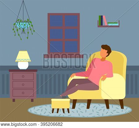 The Night Outside The Window, Man Dozes Off. Relaxing At Home. Cozy Living Room Interior, Oval Fleec
