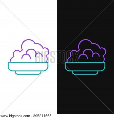 Line Shaving Gel Foam Icon Isolated On White And Black Background. Shaving Cream. Colorful Outline C