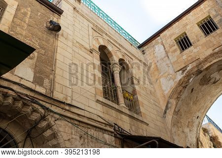 The Arched Via Dolorosa Street In The Old City Of Jerusalem In Israel