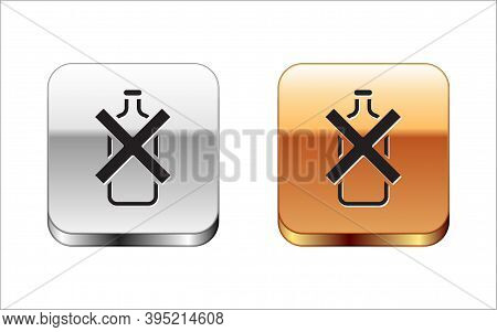 Black No Alcohol Icon Isolated On White Background. Prohibiting Alcohol Beverages. Forbidden Symbol