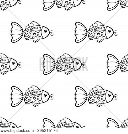 The Hand Drawn Seamless Pattern Is On White Background. The Save With The Clipping Mask.