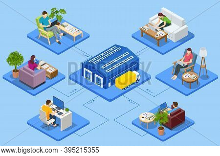 Isometric Business Man Amd Woman Working At Home. Logistics And Delivery Infographics. Delivery Home
