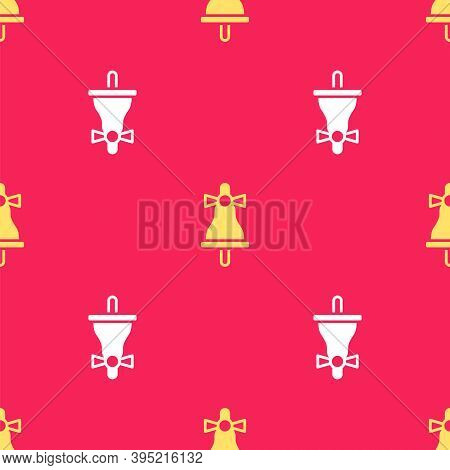 Yellow Merry Christmas Ringing Bell Icon Isolated Seamless Pattern On Red Background. Alarm Symbol,