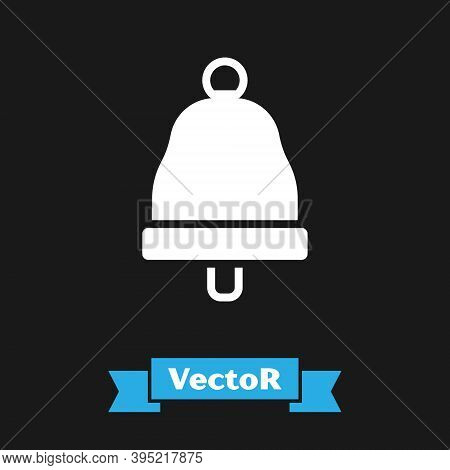 White Ringing Bell Icon Isolated On Black Background. Alarm Symbol, Service Bell, Handbell Sign, Not