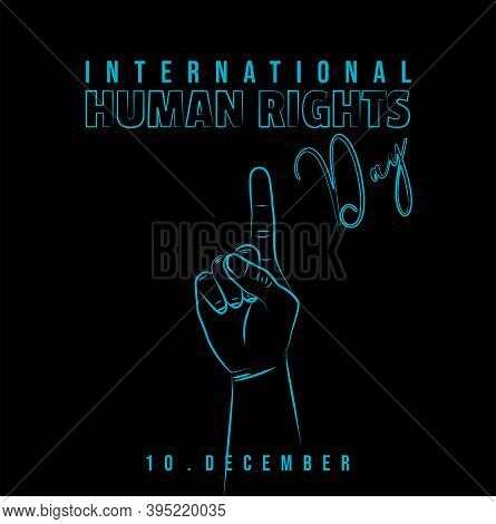 International Human Rights Day With Line Art Design Of Raising Up The Finger Vector Illustration. Go