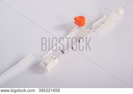 Medical Catheter For Infusion. Close-up, On A White Background