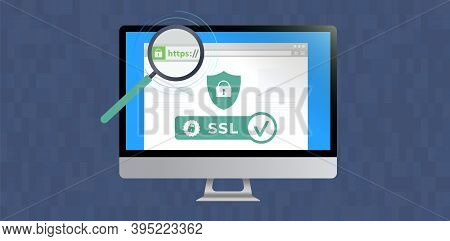 Website With Ssl Certificate Encryption. Browser Window With Safe Https (hypertext Transfer Protocol
