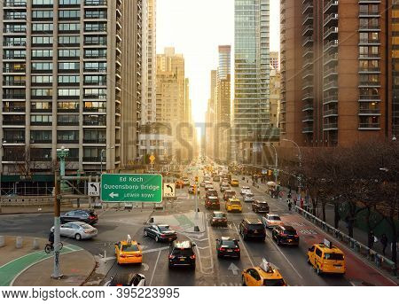 New York, Usa - December 24, 2019: Aeral View Of Second Avenue In Manhattan, New York. Taken From Of