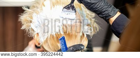 Back View Of Hands Of Hair Stylist Dyeing Hair Of Young Woman In White Color In Hair Salon