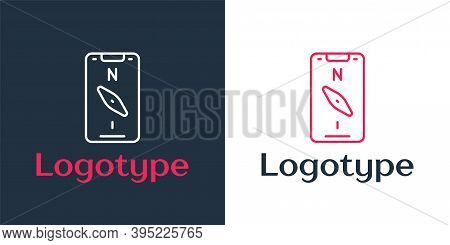 Logotype Line Compass Screen Apps On Smartphone For Navigation Icon Isolated On White Background. Ap