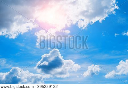 Dramatic blue sky background, vast sky landscape panoramic scene. Sunny sky landscape view, sky background with white sky clouds. Sky nature, sky background, sky landscape, colorful sky view