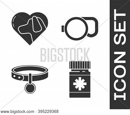 Set Dog Medicine Bottle And Pills, Heart With Dog, Collar With Name Tag And Retractable Cord Leash I