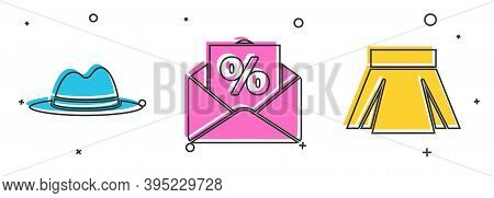 Set Man Hat With Ribbon, Envelope With An Interest Discount And Skirt Icon. Vector