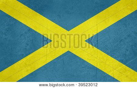 Grunge official flag of Mercia Saint Albans Cross in England.